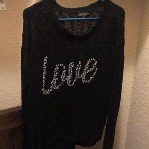 Black Love Beaded Sweater Large